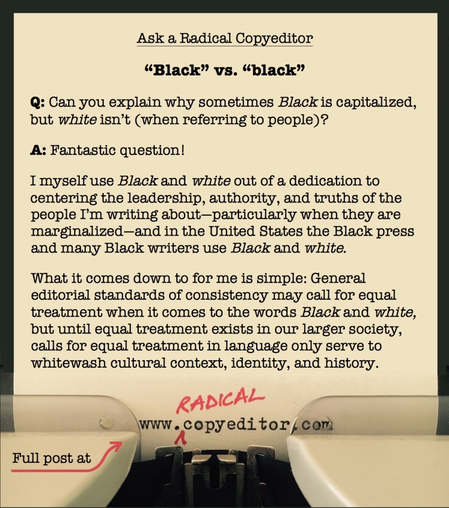 Q&A about why sometimes the word Black is capitalized but white isn't