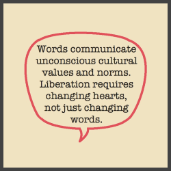 Words communicate unconscious cultural values and norms. Liberation requires changing hearts, not just changing words.