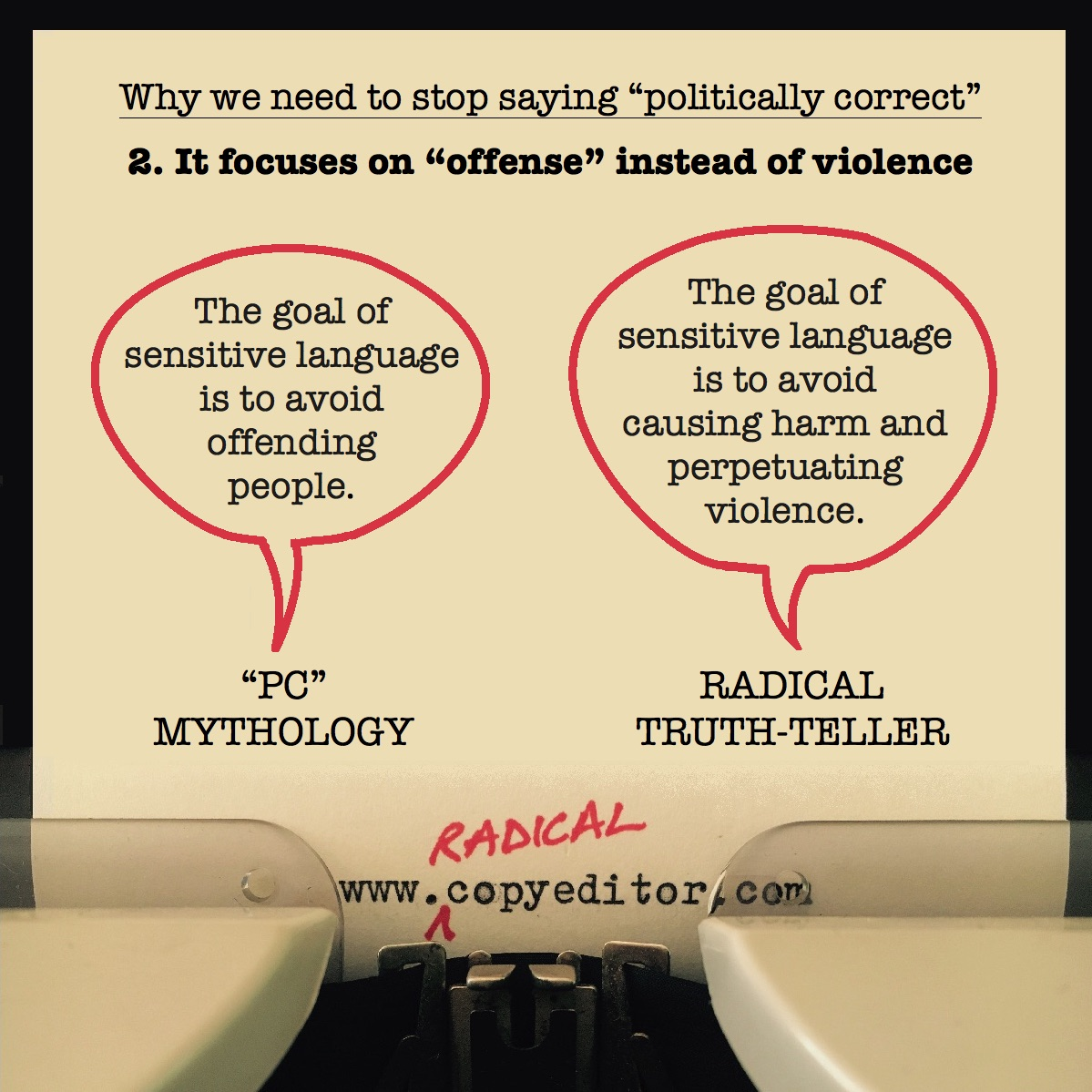 """Politically correct"" focuses on ""offense"" instead of violence. Full description of pic below."