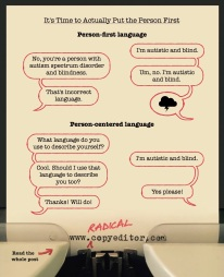 "Speech bubbles illustrating the difference between ""person-first language"" and ""person-centered language"""