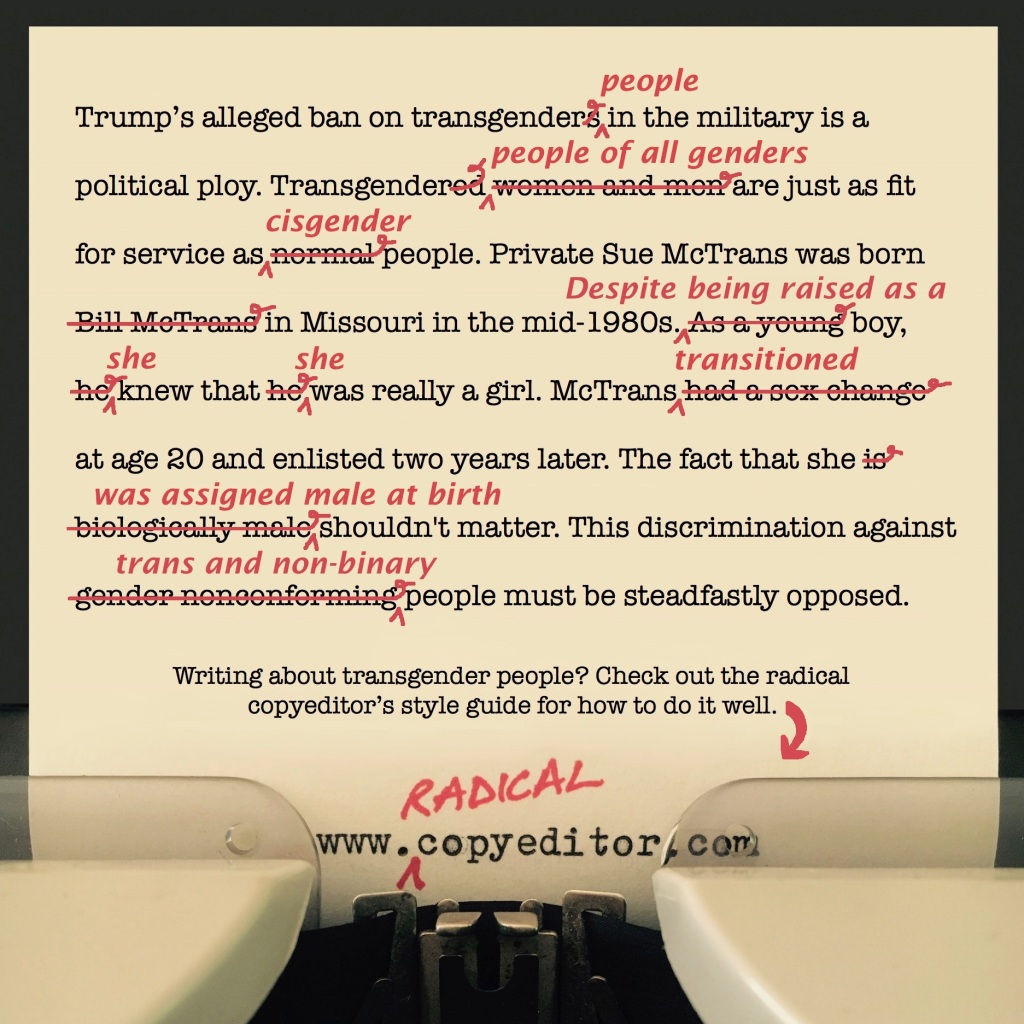A paragraph of text that's been corrected to be more respectful of trans people