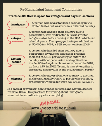 Definitions of immigrant, refugee, asylum-seeker, and migrant. Click for full image description.