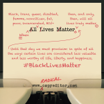 """The phrase """"All Lives Matter,"""" edited with red proofreading marks"""