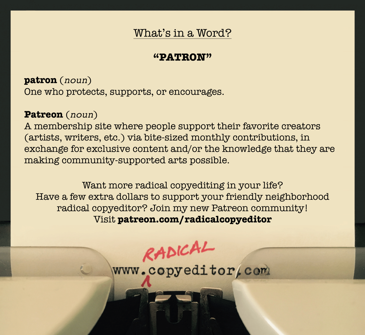 "What's in a word: ""Patron"""